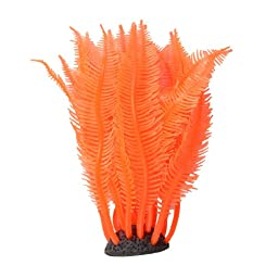 Jardin Silicone Decoration Ornament with Coral Resin Base for Aquarium, 4.5-Inch Height