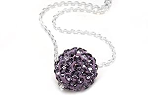Sterling Silver & Amethyst Color Crystals Ball Pendant, Includes 18 Inch Rolo Chain.