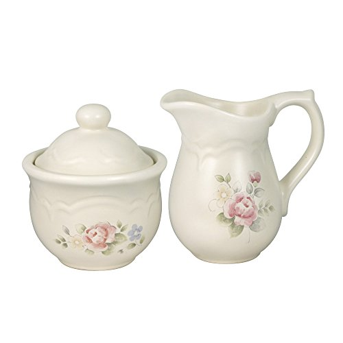 Pfaltzgraff Tea Rose Sugar And Creamer Set - Pink|Beige|Blue