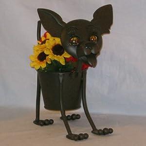 Mini Chi Chi The Chihuahua Metal Dog Planter Container Patio Lawn Garden