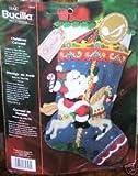 """Christmas Carousel W/Musical Chip Stocking Felt Applique Kit 18"""" Long"""