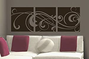 """Windy Scroll Paneling vinyl wall lettering words sticky art home decor quotes stickers decals, 16""""x45"""", Dk Brown Matte"""