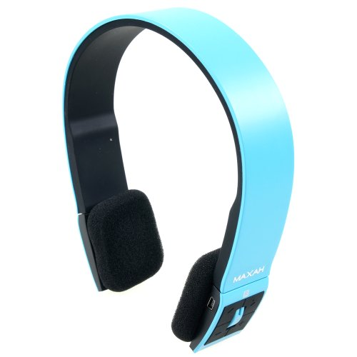 MAXAH® Universal Wireless Bluetooth Stereo Headset Headphone Earphone Handsfree Microphone for Samsung Galaxy 3 4 iPhone 4 4S 5 5S HTC NOKIA Phone TABLET LAPTOP. (Blue) MAXAH Bluetooth Headsets autotags B00F2FNSDE