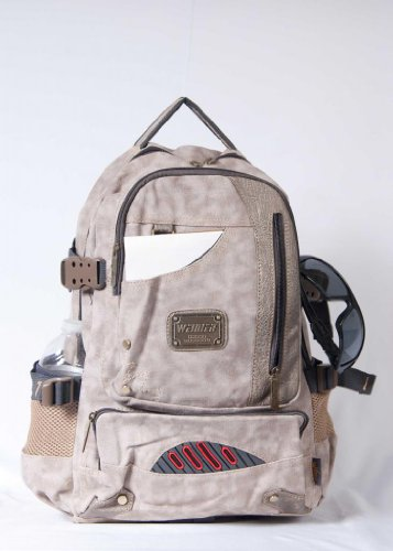Brand NEW Backpack Travel Laptop School Outdoor Camping Hiking Style Canvas Khaki! Rugged Design!!!