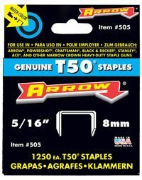 Arrow 505 Genuine T50 5/16-Inch Staples, 1,250-Pack