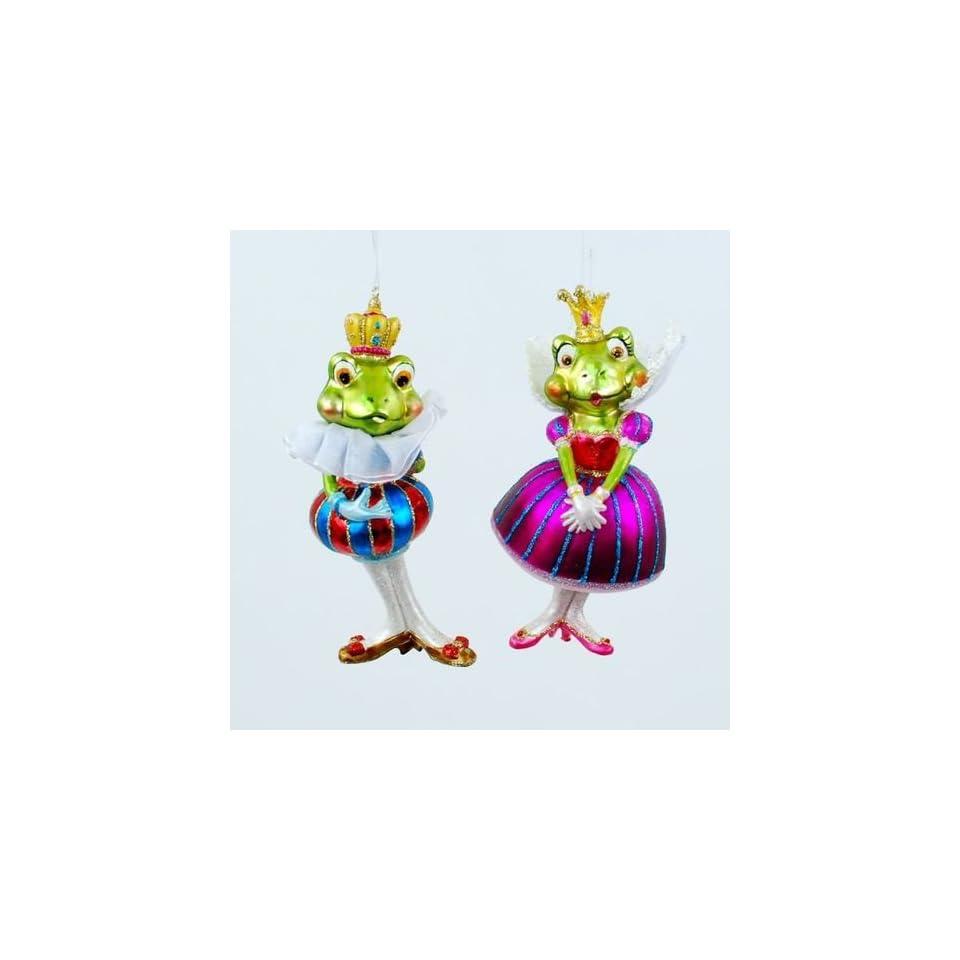 Royal Frog Prince Charming & Princess Christmas Ornament, Blown Glass
