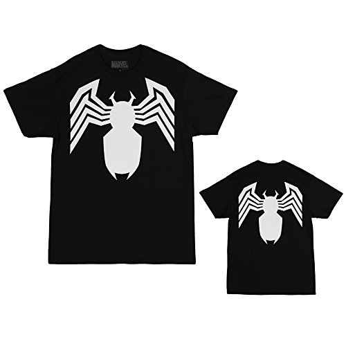 Spider-Man Venom Black Costume Logo Adult T-Shirt - Black (X-Large)