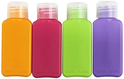 Travel Size 8 Bottles Assorted Colors Airplane Trip Gym Bag Shampoo Conditioner Skin Lotion Hair Products Skin Products Beauty Products 3.4oz Each