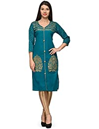 Aadhunik Libaas Rama Green Cotton Printed Kurta Long Top For Women Girls