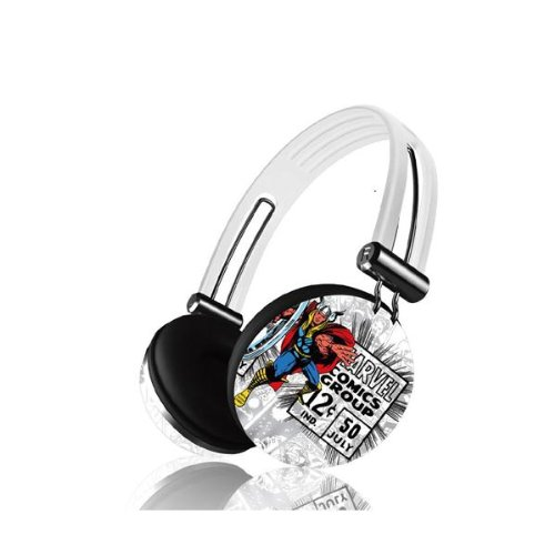Ihip Mvf-Hp28-Rt-4 Marvel Comics Pro Audio On-Ear Headphones With In-Line Mic - Thor (White)