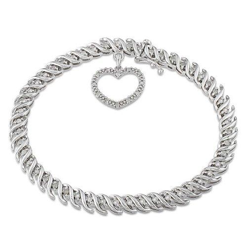 Sterling Silver 1 CT TDW Diamond Tennis Bracelet (H-I, I3)