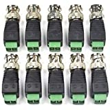Bluecell 10 Pack Coaxial Camera Vedio BNC Male Balun Connector for Coax CAT5 to CCTV