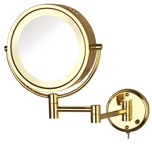Jerdon Hl75G 8.5-Inch Lighted Wall Mount Makeup Mirror With 8X Magnification, Bright Brass Finish