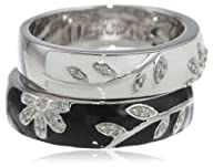 Sterling Silver Black White Enamel Floral Diamond Stack Ring (1/10 cttw, I-J Color, I2-I3 Clarity)