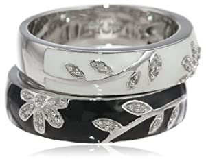 Sterling Silver Black White Enamel Floral Diamond Stack Ring (1/10 cttw, I-J Color, I2-I3 Clarity), Size 8