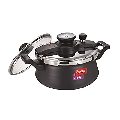 Prestige Clip On Hard Anodised Handi Pressure Cooker with Glass Lid, 5 Litres, Charcoal Black