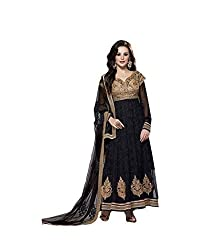 Sky Up Women's Net Embroidered Black Salwar Suit