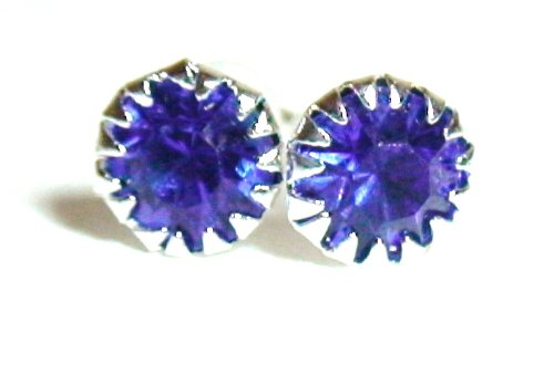 Silver Tone Royal Blue Rhinestone Birthstone Stud Earrings Fashion Jewelry Collection