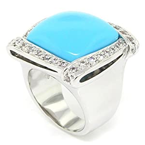 Square Large Cocktail Ring w/Turquoise & White CZs, 7