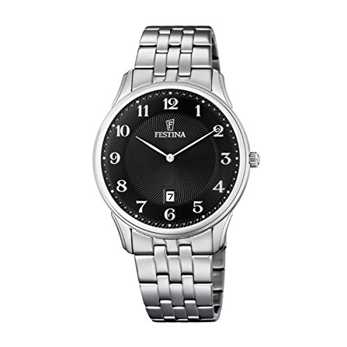 Reloj Cuarzo Festina Para Unisex Con  Negro Analogico Y Plata Acero inoxidable F6856/4