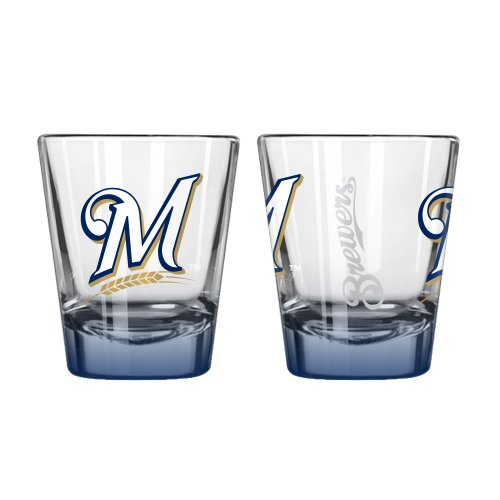 MLB Milwaukee Brewers Elite Shot Glass Set (2-Pack), 2-Ounce