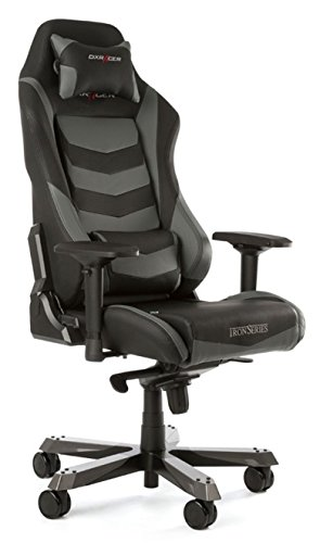 DX Racer Iron Gaming Chair - Grey and Black Stripe - OH/IF166/NG
