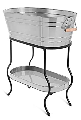 BirdRock Home Stainless Steel Beverage Tub with Stand | Oval | Bottom Tray | Party Drink Holder | Wooden Handles | Outdoor or Indoor Use | Free Standing