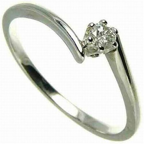 9ct White Gold Diamond Engagement Ring With Round Brilliant Diamond Solitaire, Twist Ring, 0.10 Carat Diamond Weight