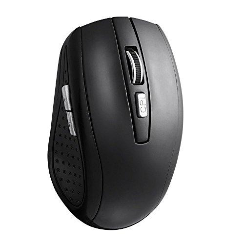 TONOR aufladbar Bluetooth lautlose kabellos schnurlos Funkmaus wireless Maus 800/1200/1600 DPI für PC Mac Tablet Laptop, ohne Klickgeräusche Schwarz