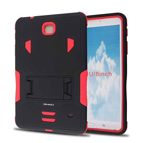 [iRhino] TM BLACK-RED Heavy Duty rugged impact Hybrid Case cover with Build In Kickstand Protective Case For Samsung galaxy Tab 4 8.0 inch T330 Tablet at Electronic-Readers.com