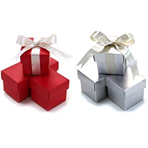 Koyal Wholesale Christmas Crafts 2-Piece 20-Pack Square Gift Favor Boxes Christmas Holiday Party Supplies, Red/Silver