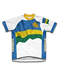Rwanda Flag Short Sleeve Cycling Jersey for Women