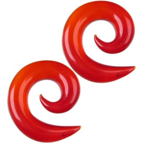 Pair of Glass Spirals: 000g Ruby