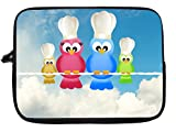 10 inch Rikki KnightTM Colorful Owl family Chef and Bakers Laptop sleeve - Ideal for iPad 2,3,4, iPad Air, Galaxy Note, Small Notebooks and other Tablets