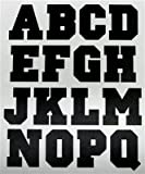 2-Inch Iron-On Jersey Letters in Black Closed Style