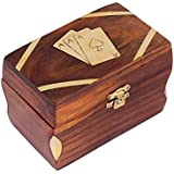 Cyber Monday Christmas Gifts Wooden Playing Card Storage Box Hand Crafted with Brass Inlay Work