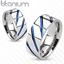buy Tir-0004 Solid Titanium Blue Ip Striped Band Ring; Comes With Free Gift Box (11)