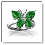 14K White Gold Pear Emerald Butterfly Ring