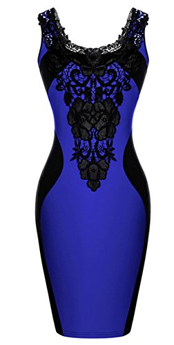 Mooncolour Women'S Floral Lace Front Embroidered Contrast Sleeveless Pencil Dress