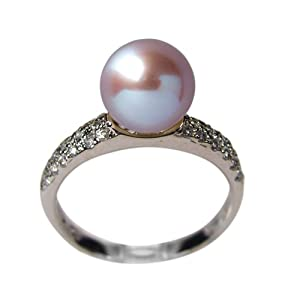 Sparkle River Lavender Cultured Pearl Cubic Zirconia Silver Ring (Size 6)