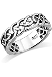 MIMI Sterling Silver Woven Celtic Knot Trinity Band Ring Size 5, 6, 7, 8, 9, 10, 11, 12