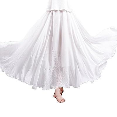 Women's Bohemian Style Elastic Waist Band Cotton Linen Long Maxi Skirt Dress