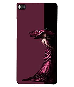 Fuson Well dressed Girl Back Case Cover for HUAWEI P8 - D3922