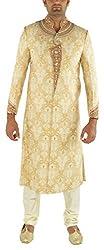 Re Channel Men's Silk Sherwani (T17099_44, Gold, 44)