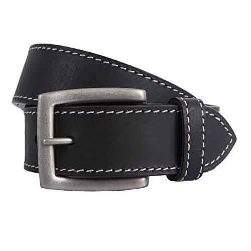 LINDENMANN - Uomo Cintura, Cintura in pelle nero, Länge:140 cm;Farbe:schwarz