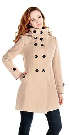 LANHUACAO Women Wool Blends Coat Trench Hooded Coat Long Jacket Outwear Overcoat (Small, Beige)