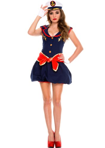 Celina Women's Captain Bubble Dress Costume Set (4 Piece)