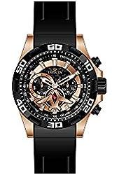 Invicta Men's Aviator Black Polyurethane Band Steel Case Quartz Analog Watch 21740