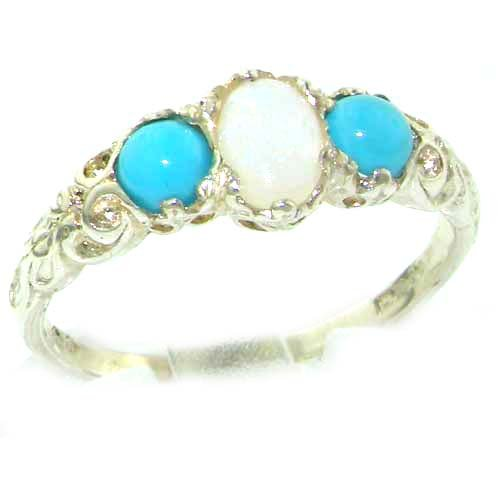 Ladies Solid Sterling Silver Natural Opal & Turquoise English Victorian Trilogy Ring - Size 12 - Finger Sizes 5 to 12 Available - Suitable as an Anniversary ring, Engagement ring, Eternity ring, or Promise ring