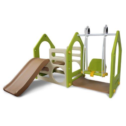 Wetterfestes Kinderspielhaus aus Kunststoff mit Rutsche & Schaukel für Kinderzimmer & Garten - L/B/H: ca 135x155x102 cm